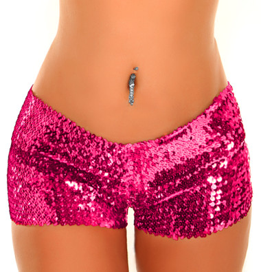 Daisy Corset Pink Sequin Booty Shorts