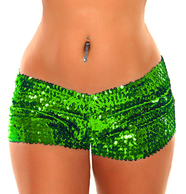 Daisy Corset Green Sequin Booty Shorts