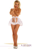 Daisy Corset White Satin Layered Ruffle Skirt