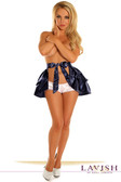 Daisy Corset Navy Blue Satin Layered Ruffle Skirt