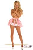 Daisy Corset Baby Pink Satin Layered Ruffle Skirt