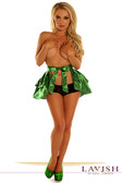 Daisy Corset Green Satin Layered Ruffle Skirt