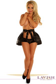 Daisy Corset Black Satin Layered Ruffle Skirt