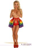 Daisy Corset Rainbow Satin Layered Ruffle Skirt