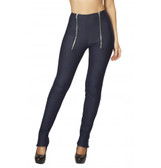 Roma Costume Pants with Double Zip Front and Zip Up Cuffs - Blue