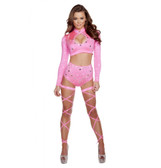 Roma Costume 2PC Long Sleeve Crop Top and High Waisted Shorts