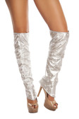 Roma Costume Leatherette Leg Warmers with Rhinestones Detail - Silver
