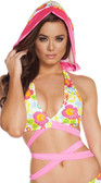 Roma Costume Printed Wrap Around Top with Attached Hood - Flowers