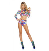Roma Costume High-Waisted Printed Shorts