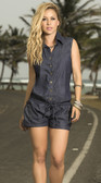Mapale Button-Up Denim Romper