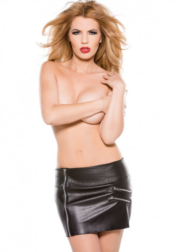 Allure Lingerie Faux Leather Zipper Skirt