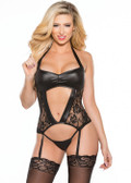 Allure Lingerie Lace & Wet Look Corset (11-5602K)