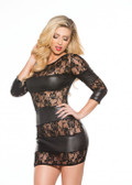 Allure Lingerie Lace & Wet Look Dress (17-3082K)