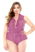 Fantasy Lingerie Halter Neck Romper with Snap Closure
