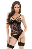 Fantasy Lingerie Lace & Satin Bustier with Detachable Garters & Panty