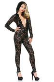 Fantasy Lingerie Mia Lace Hooded Jumpsuit