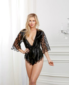 Dreamgirl Holiday Satin & Sequined Chiffon French Cut Romper