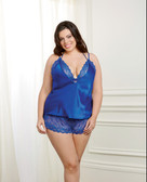 Dreamgirl Holiday Satin Camisole, Lace Bralette & Tap Short - Queen Size