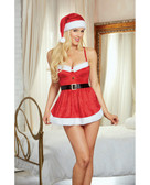Dreamgirl Holiday Stretch Velvet Apron Chemise w/Hat