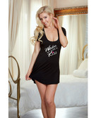Dreamgirl Valentines Jersey Open Back Wake Me With A Kiss Sleepshirt