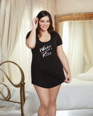 Dreamgirl Valentines Jersey Open Back Wake Me With A Kiss Sleepshirt - Queen Size