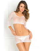 Rene Rofe Crochet-Net Bodystocking - White