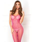 Rene Rofe Halter Fishnet Bodystocking - Hot Pink
