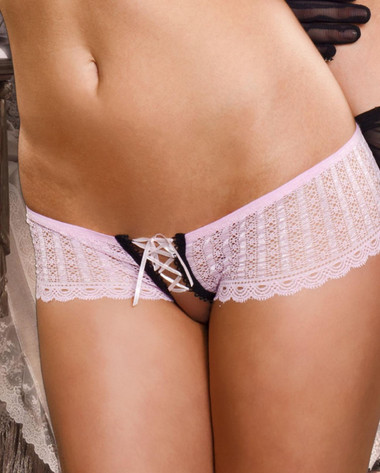 Fealess and Fun Lace Up Crotchless Hipster Panties