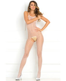Rene Rofe Quarter Crochet Net Bodystocking - White
