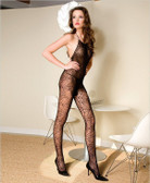 Spider Web Halter Bodystocking and Open Back w/Convenience Crotch - Each Set (S1628)