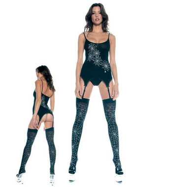 Spider Web Top w/String Top and Matching Thigh Hi - Each Set (S2117)