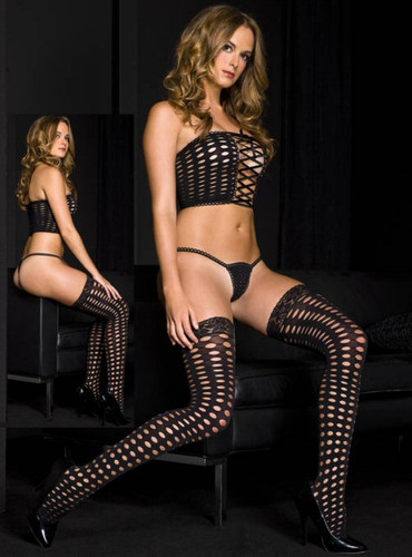 Crochet Lace Up Tube Top w/G-String & Lace Top Thigh Hi - Each Set (ML9273)