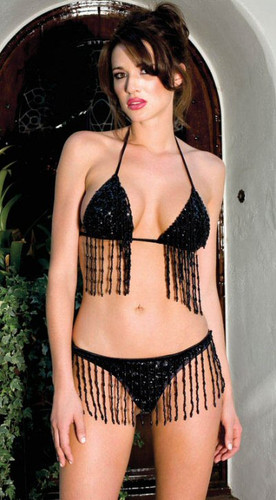 Sequined Top and Thong w/Beaded Fringe - Each Set (ML59001)