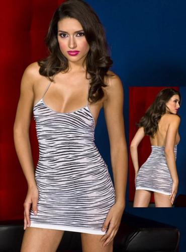 Zebra Halter Mini Dress - Each Piece (ML6606)