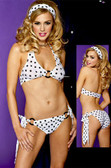 Polka Dot Tie Back Halter Top w/Tie Sides Panty and Matching Hair Band - Each Set (S9394)
