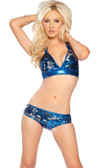 Roma Costume 2 Tone Sequin Halter Top and Short - Royal Blue/Silver