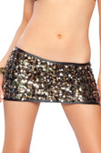 Roma Costume Sequin Mini Skirt - Black/Gold