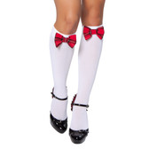 Roma Costume Knee High Stocking with Plaid Bows