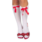 Roma Costume Ribbon Detailed Stockings - White/Red Ribbon