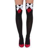 Roma Costume Thigh High Heart Stockings with Bows