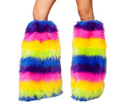 Roma Costume C121 Fur Leg Warmer-Rainbow