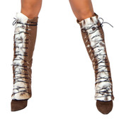 Roma Costume Fur/Suede Lace up Leg Warmer