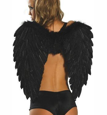 Roma Costume Feather Wings - Black