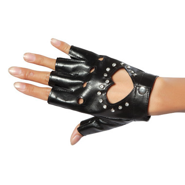 Roma Costume Gloves with Cut-out Heart and Stones - Black