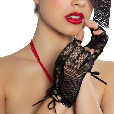 Roma Costume GLF Mini Fishnet Lace-up Gloves
