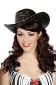 Roma Costume Black Straw Hat