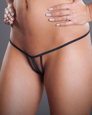 Fearless And Fun Lingerie Crotchless Tristring G-String - Black