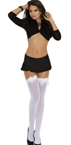 Elegant Moments Opaque Thigh High - White