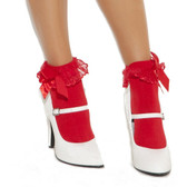 Elegant Moments Nylon Anklet with Ruffle and Satin Bow - Red