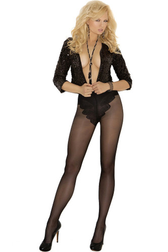 Elegant Moments French Cut Support Pantyhose - Black